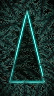 Cadre bleu en forme d'arbre triangulaire néon