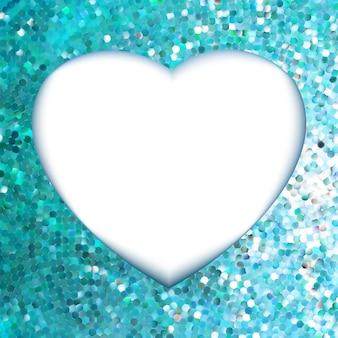 Cadre bleu en forme de coeur.
