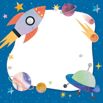 Cadre bleu galaxie mignon sur fond blanc pour les enfants