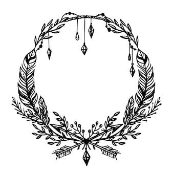 Cadre boho dessiné à la main de gravure ornementale
