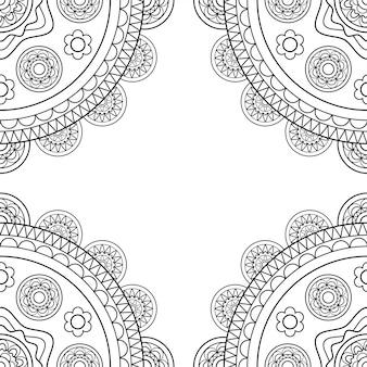 Cadre boho doodle en noir et blanc