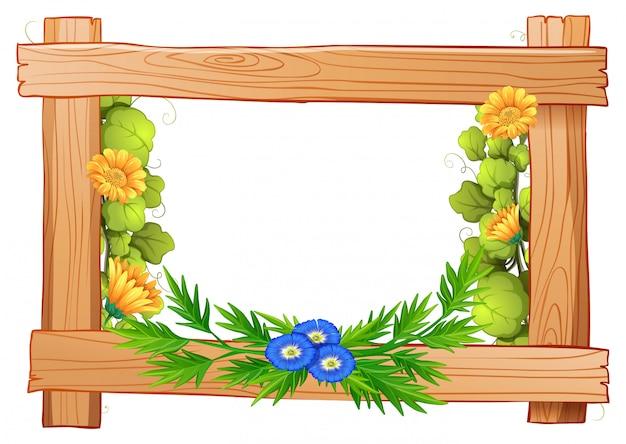Cadre en bois avec des fleurs et des feuilles