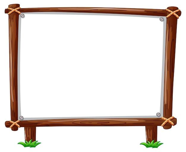 Cadre en bois horizontal isolé sur blanc