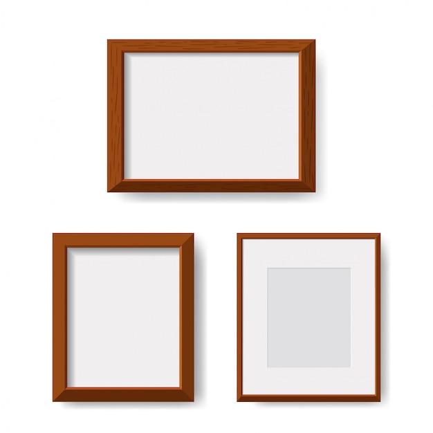 Cadre en bois isolé minimaliste réaliste