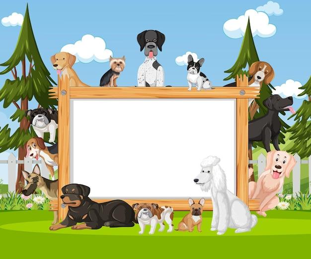 Cadre en bois vide avec diverses races de chiens dans le parc