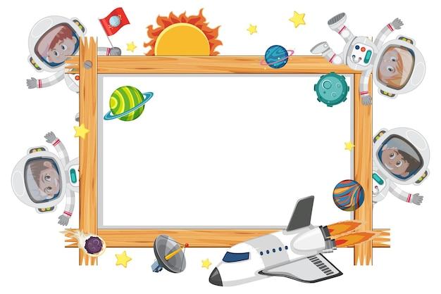 Cadre en bois vide avec personnage de dessin animé pour enfants astronautes