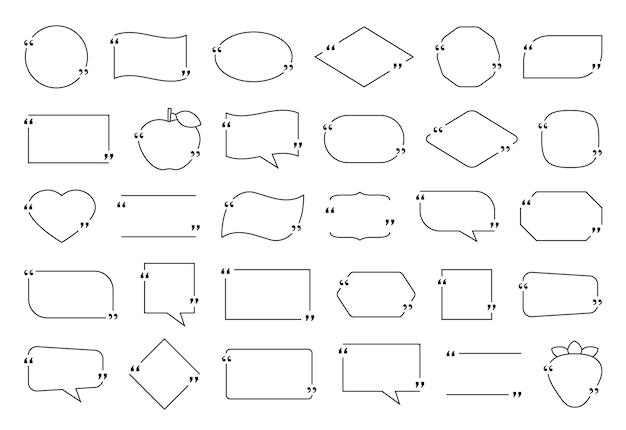 Cadre de boîte de devis. citations de texte de modèle, bulles de dialogue. illustration vectorielle.