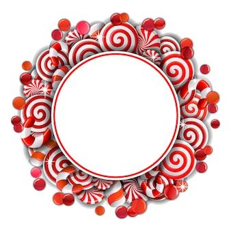 Cadre avec des bonbons rouges et blancs.