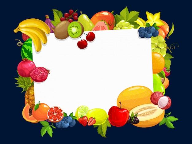 Cadre avec bordure de dessin animé de fruits tropicaux