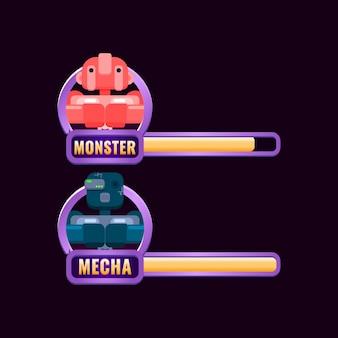 Cadre de bordure d'interface de jeu avec barre de niveau et de progression