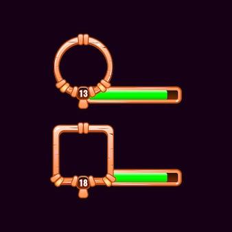 Cadre de bordure d'interface utilisateur de jeu en bois avec niveau et barre de progression