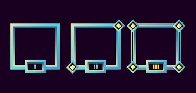 Cadre de bordure d'interface utilisateur de jeu fantastique avec grade