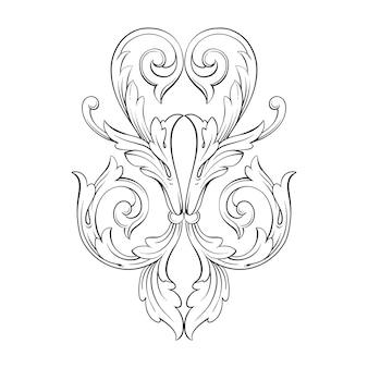 Cadre et bordure en or de style baroque. couleur noir et blanc. décoration de gravure florale