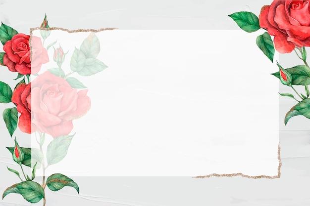 Cadre de bordure or vecteur rose rouge