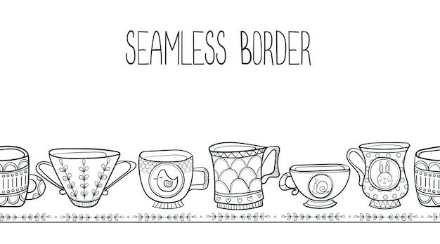 Cadre de bordure sans fin sans couture avec des tasses de contour de dessin animé