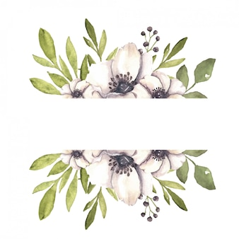 Cadre botanique aquarelle