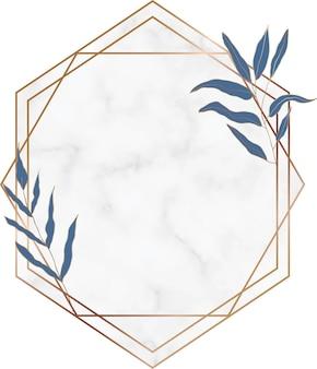Cadre botanique dessiné à la main en marbre géométrique