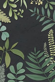 Cadre botanique sur fond noir