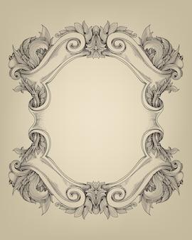 Cadre De Bouclier Baroque Vintage Avec Ornement Floral Vecteur Premium