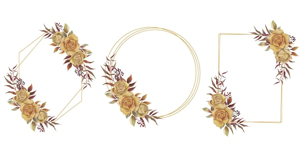 Cadre avec bouquet de fleurs aquarelle pour carte de voeux ou décoration de carte de mariage