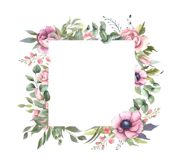 Cadre avec bouquets de fleurs roses, feuilles.