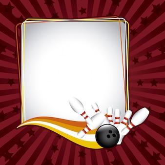 Cadre de bowling au cours de l'illustration vectorielle fond grunge