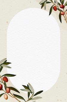 Cadre de branche d'olivier sur une illustration de fond beige