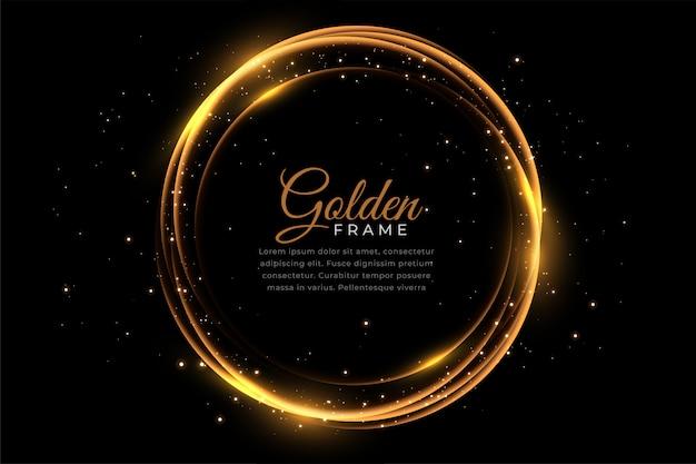 Cadre brillant doré abstrait avec des étincelles