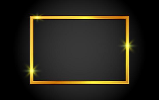 Cadre brillant or avec des ombres sur fond.