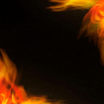 Cadre brûlant de feu rouge rétro
