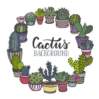 Cadre avec cactus dessiné à la main dans le style de croquis.
