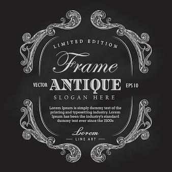 Cadre de cadre antique vecteur dessiné bannière vecteur étiquette vintage