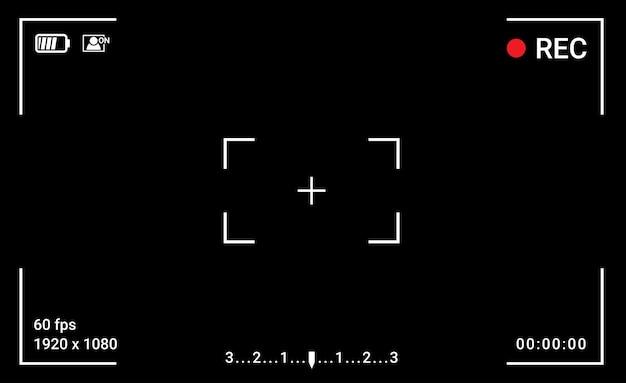 Cadre de la caméra écran du viseur affichage de l'enregistrement vidéo