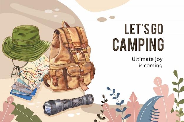 Cadre de camping avec illustration de chapeau, de lampe de poche et de sac à dos de seau.