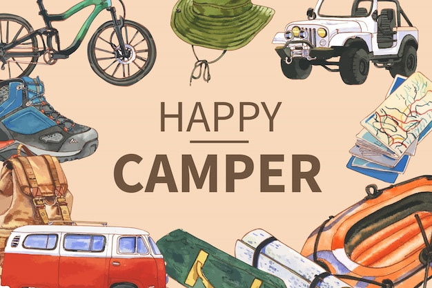 Cadre de camping avec illustrations de bicyclette, chapeau de seau, voiture, carte et bateau.