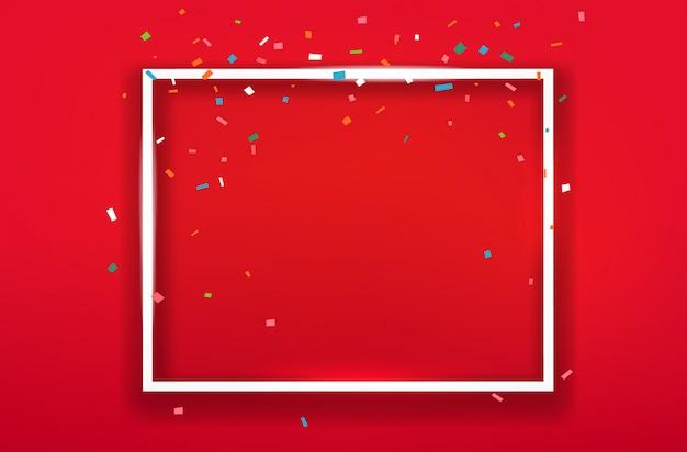 Cadre carré blanc sur fond rouge