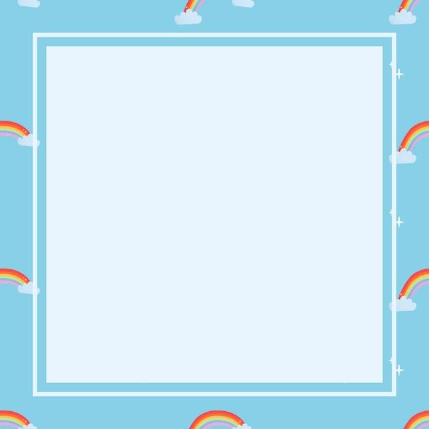 Cadre carré bleu, clipart de vecteur météo motif arc-en-ciel mignon