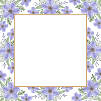 Cadre carré avec bordure aquarelle fleur bouquet violet