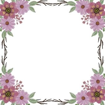 Cadre carré avec bordure aquarelle fleur rose