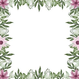 Cadre carré avec bordure de fleur rose et feuille verte