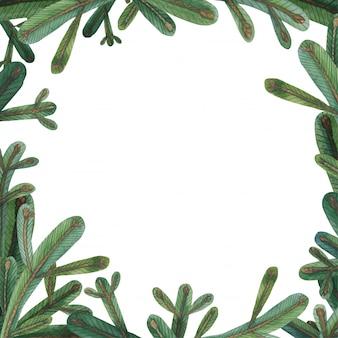 Cadre carré de branche d'arbre de noël
