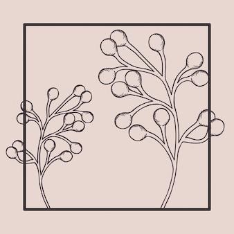 Cadre carré avec branche et graines dessinées