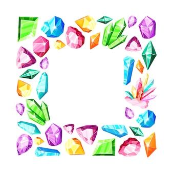 Cadre carré: cristaux arc-en-ciel colorés ou gemmes bleues, dorées, vertes, roses, violettes, isolés sur blanc