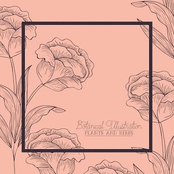 Cadre carré décoratif fleurs roses