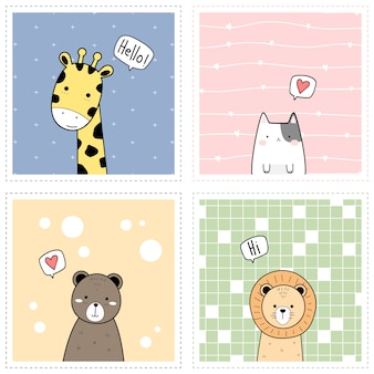 Cadre carré de dessin animé animal mignon doodle