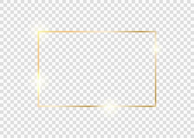 Cadre carré doré. bordure de ligne de lueur de luxe doré. cadre vintage brillant doré avec des ombres isolées sur fond transparent.