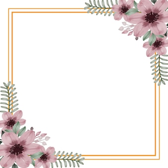 Cadre carré doré avec floral aquarelle rose