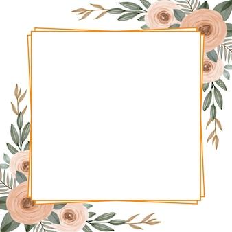 Cadre carré doré avec roses pêche
