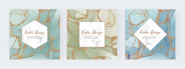 Cadre carré d'encre avec texture de paillettes d'or et fond géométrique en marbre.