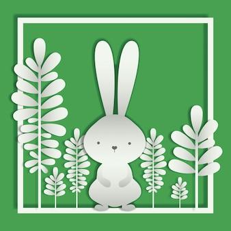 Cadre carré avec feuilles et lapin de pâques